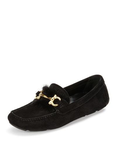 Parigi Fur-Trim Gancini Loafer, Nero