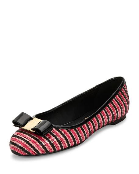 Bow Zigzag Leather Ballet Flat, Ballerine