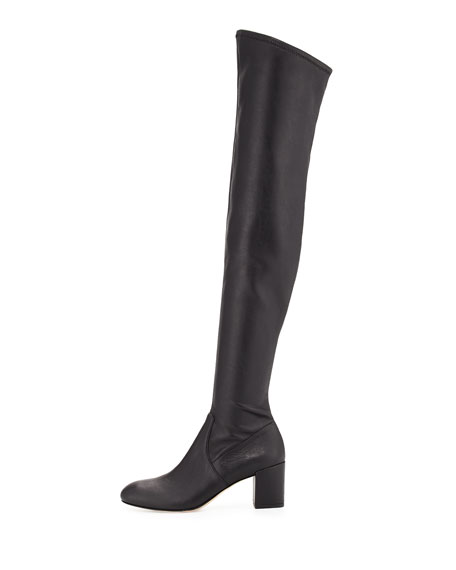 Lauren Leather Over-the-Knee Boot, Black