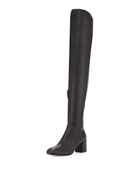 Lauren Leather Over-the-Knee Boot, Black