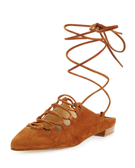 Stuart Weitzman Stringdown Suede Lace-Up Flat, Amaretto