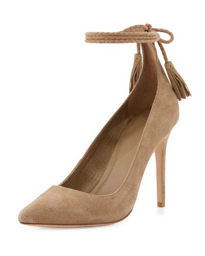 Angelynn Suede Ankle-Wrap Pump, Gesso