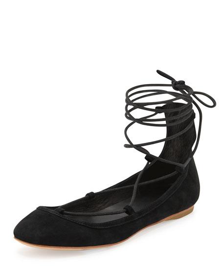 Joie Jenessa Suede Lace-Up Ballerina Flat, Black