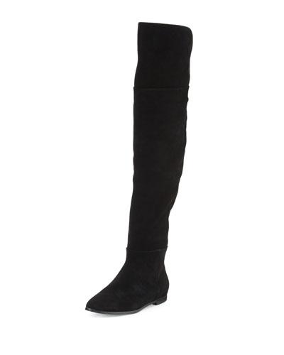 Harmonee Suede Over-the-Knee Boot, Black