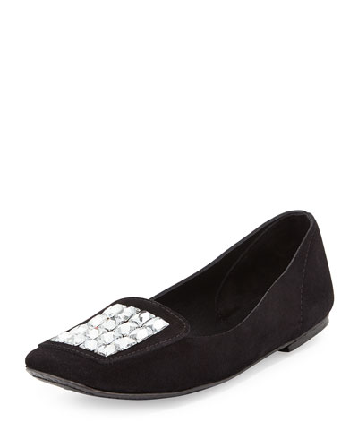 Rosemary Crystal Suede Loafer, Black
