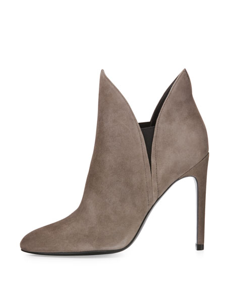 Madison Winged Suede Bootie, Taupe