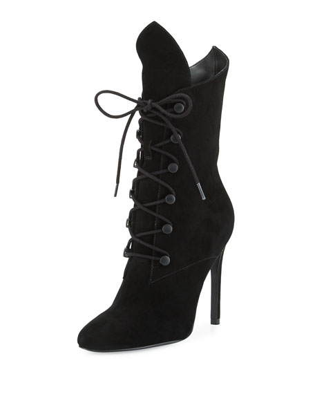 Maya Winged Lace-Up Bootie, Black