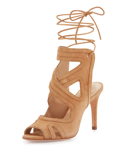 Delfine Suede Lace-Up Sandal, Almond