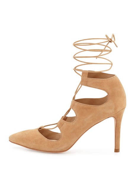 Leila Suede Lace-Up Pump, Almond