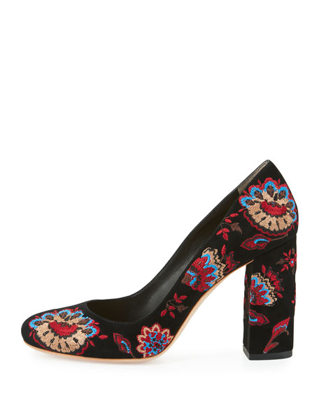 Sydnee Embroidered Chunky-Heel Pump, Black Floral