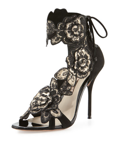 Winona Floral Lace-Back 100mm Sandal, Black/Gold