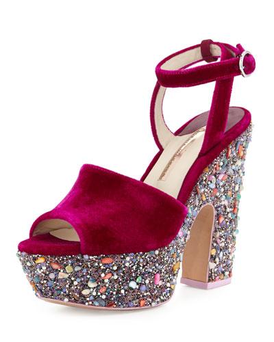 Pip Velvet Platform Sandal, Winter Cherry