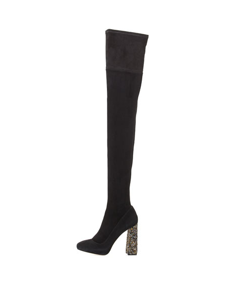 Kendra Beaded-Heel Over-the-Knee Boot, Black