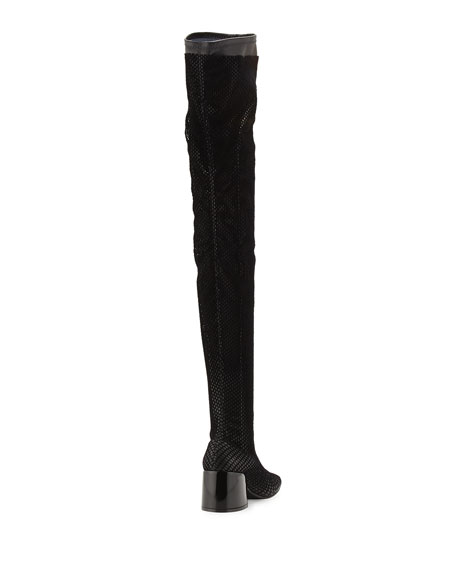 Mesh Chunky-Heel Over-The-Knee Boot, Black
