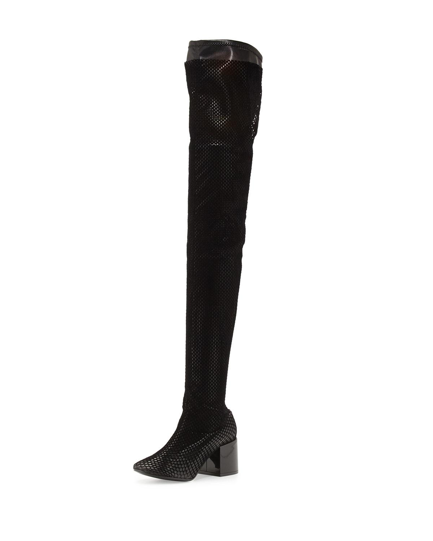 b02970e6a58 MM6 Maison Martin Margiela Mesh Chunky-Heel Over-The-Knee Boot ...