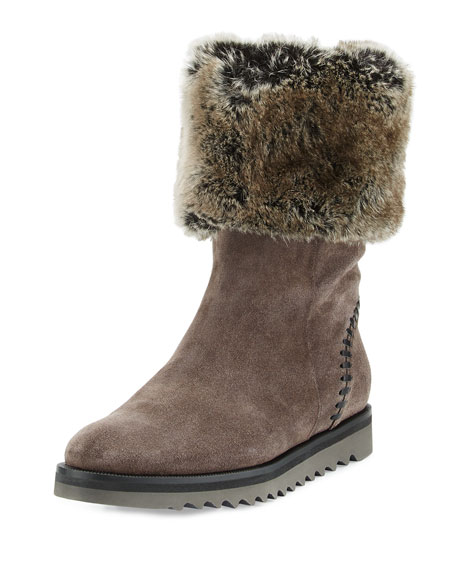 Aquatalia Paulette Faux-Fur Lined Boot, Graphite