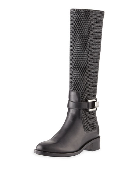 Aquatalia Odilia Weatherproof Leather Riding Boot, Black