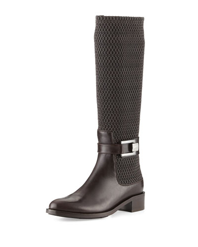Odilia Weatherproof Leather Riding Boot, Espresso