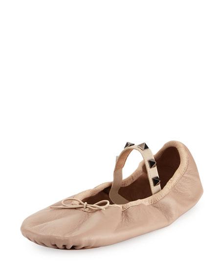 Rockstud Ballet Leather Ballerina Flat