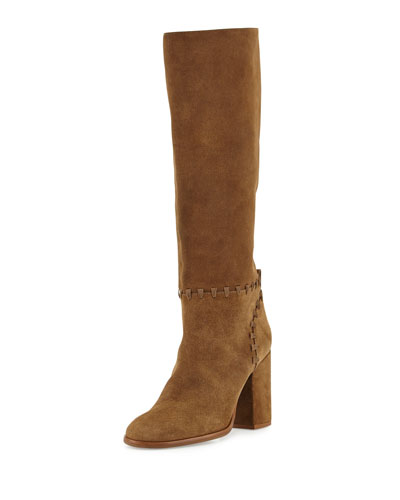 Contraire Suede 90mm Knee Boot, River Rock