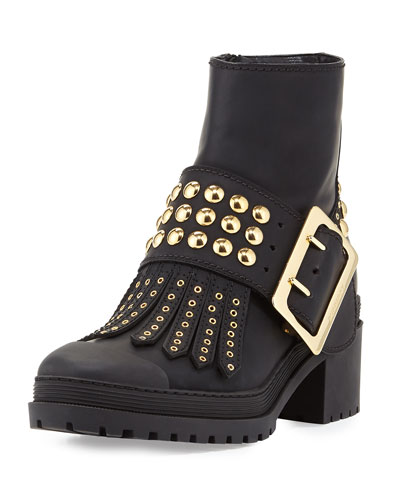 Whitchester Studded Buckle Bootie, Black