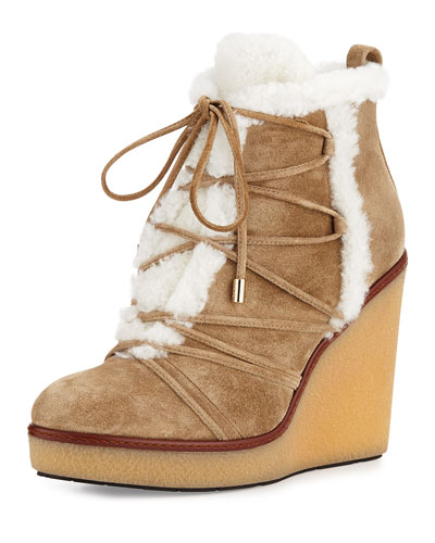 Osja Shearling Wedge Bootie, Stone Brown