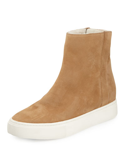 Hardy Shearling High-Top Sneaker, Sand