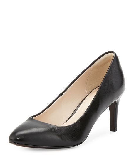 Cole Haan Carla Grand.OS Leather Pointed-Toe Pump, Black
