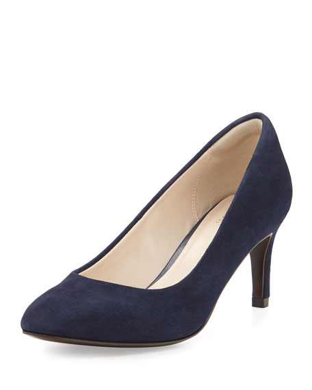 Cole Haan Carla Grand.OS Suede Pointed-Toe Pump, Marine