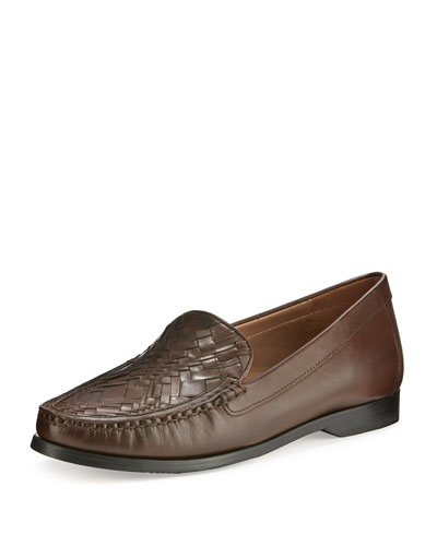 Pinch Woven Leather Loafer, Chestnut