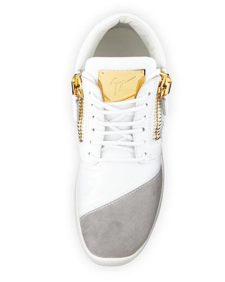 Singleg Leather & Suede Side-Zip Sneaker, White/Gray