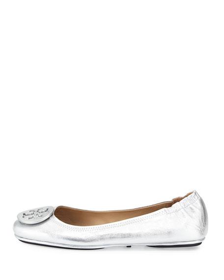 Minnie Travel Logo Ballerina Flat, Silver
