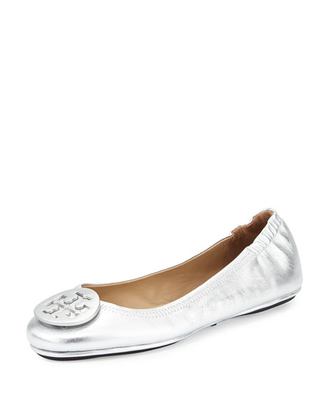 Tory Burch Minnie Travel Logo Ballerina Flat, Silver