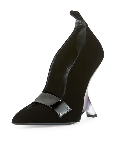 TOM FORD Sculptural Lucite®-Heel Velvet Pump, Black