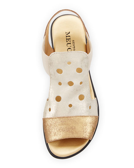 Eddy Perforated Comfort Sandal, Platino Lusito/Gold