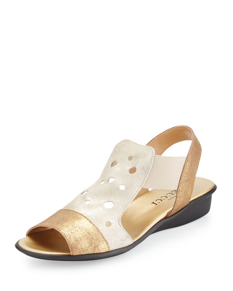 Sesto Meucci Eddy Perforated Comfort Sandal, Platino Lusito/Gold