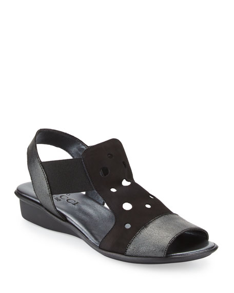 Sesto Meucci Eddy Perforated Comfort Sandal, Black