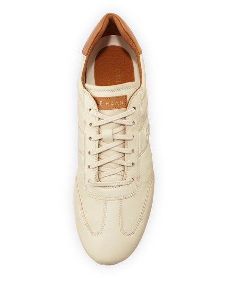 Trafton Grand.OS Vintage Leather Trainer, Sandshell