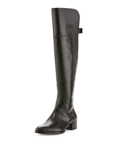 Aspyn Leather Knee Boot, Black