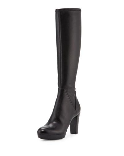 Echoe Platform Leather Knee Boot, Black