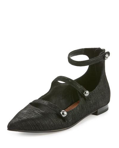 Perez Strappy Pointed-Toe Flat, Black