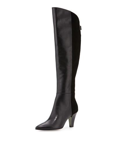 Tasmin Leather & Suede Knee Boot, Black