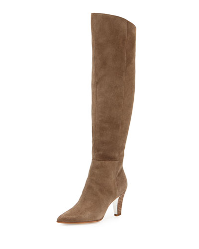 Tasmin Suede Knee Boot, Taupe