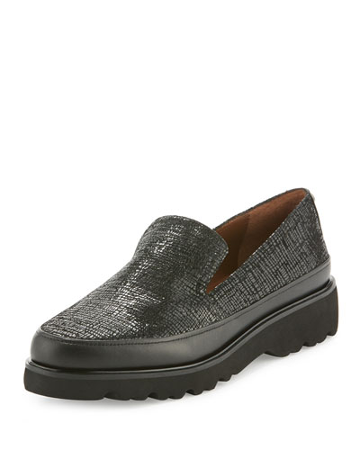 Coco Crackled Lugged-Sole Loafer, Black