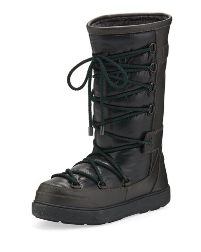 Laetitia Leather Lace-Up Boot, Black