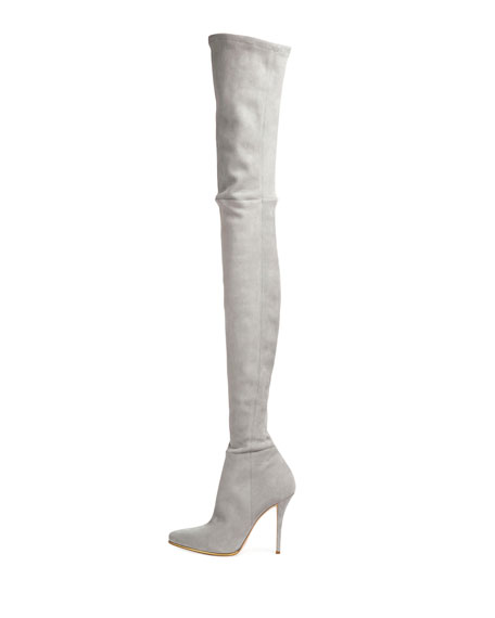 Suede Thigh-High 110mm Boot, Gray