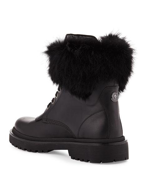 Patty Fur-Collar Hiker Boot, Black
