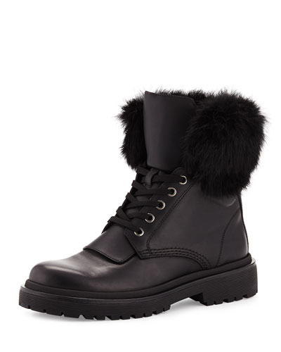Patty Fur-Collar Hiker Boot, Black
