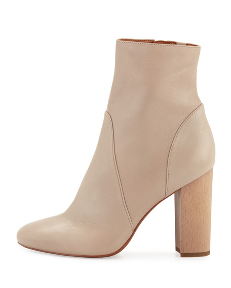 Alma Leather Ankle Boot, Taupe