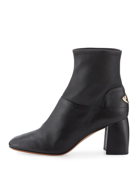 Tory Burch Sidney Leather 70mm Bootie, Black